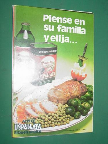 clipping publicidad de aceite uspallata lata botella familia