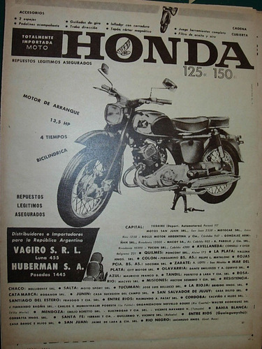 clipping publicidad moto motocicleta honda 125 japon vagiro