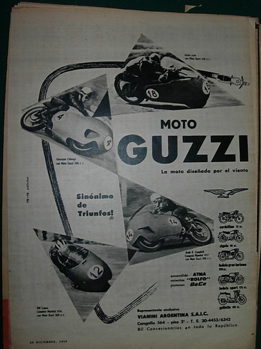 clipping publicidad motos motociclismo moto guzzi carreras