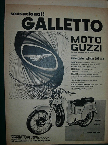 clipping publicidad motos motociclismo moto guzzi galletto