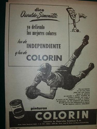 clipping publicidad osvaldo simonetti independiente colorin