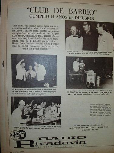 clipping publicidad radio rivadavia club de barrio mosqueter
