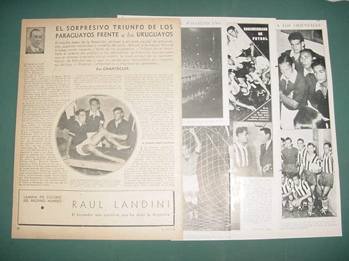 clipping recorte futbol sudamericano 1937 paraguay uruguay