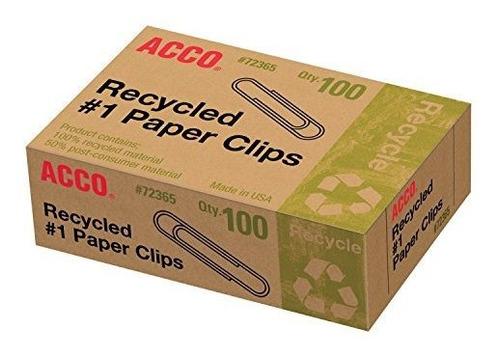 clips de papel reciclados acco # 1, 100 unidades (a7072365a)