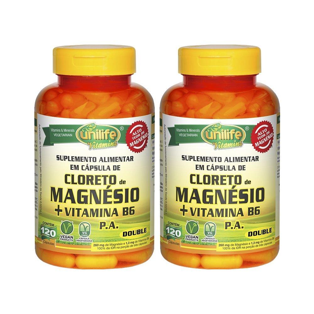 Cloreto De Magnésio P.A. + Vitamina B6 - 120 Cápsulas 800mg Unilife Kit 2 Unidades