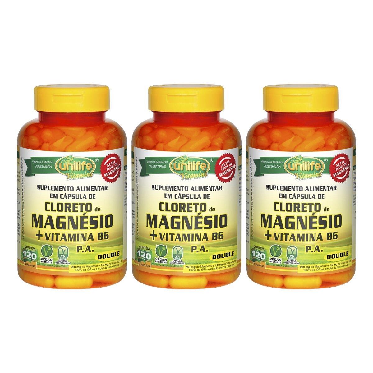 Cloreto De Magnésio P.A. + Vitamina B6 - 120 Cápsulas 800mg Unilife Kit 3 Unidades