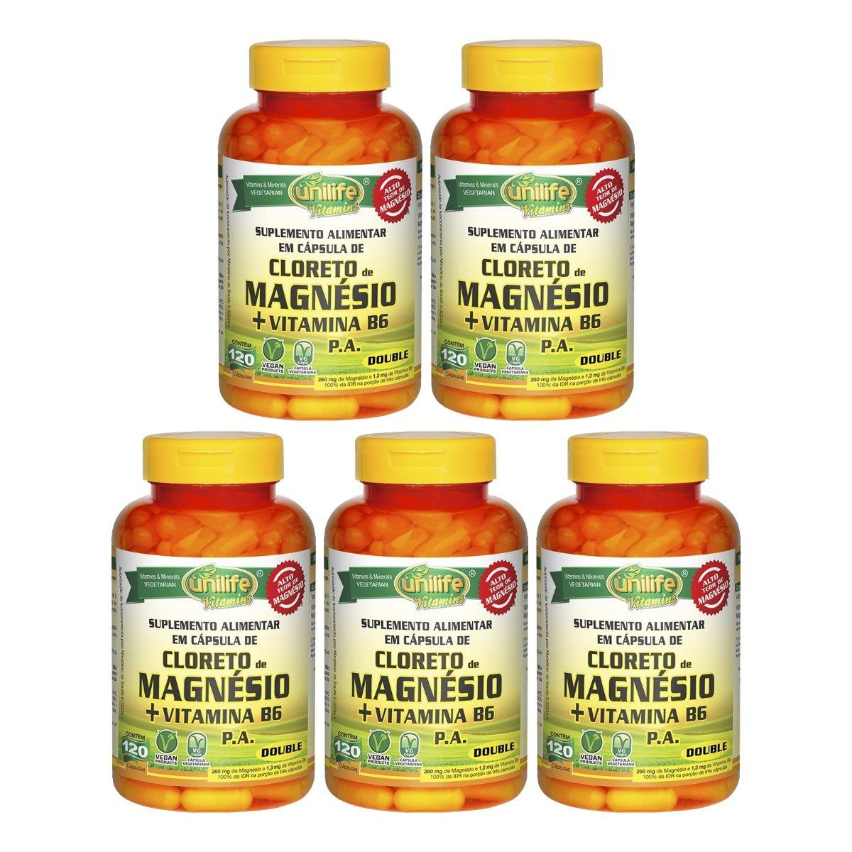 Cloreto De Magnésio P.A. + Vitamina B6 - 120 Cápsulas 800mg Unilife Kit 5 Unidades