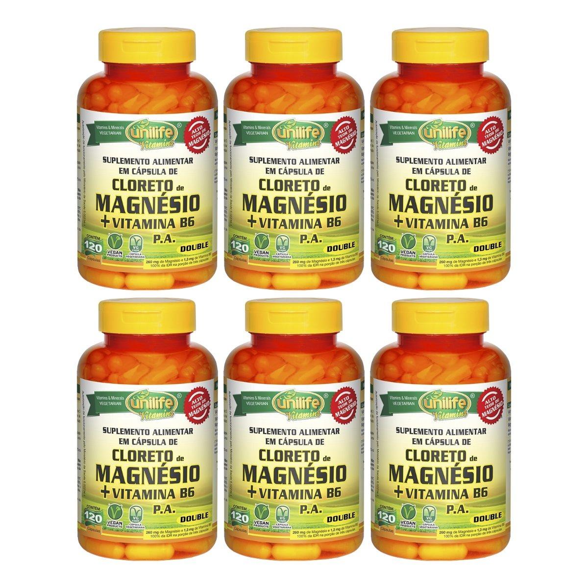 Cloreto De Magnésio P.A. + Vitamina B6 - 120 Cápsulas 800mg Unilife Kit 6 Unidades