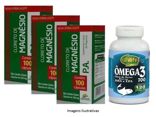 cloreto de magnésio pa 300 cápsulas kit c/ 3 sem gosto ruim!