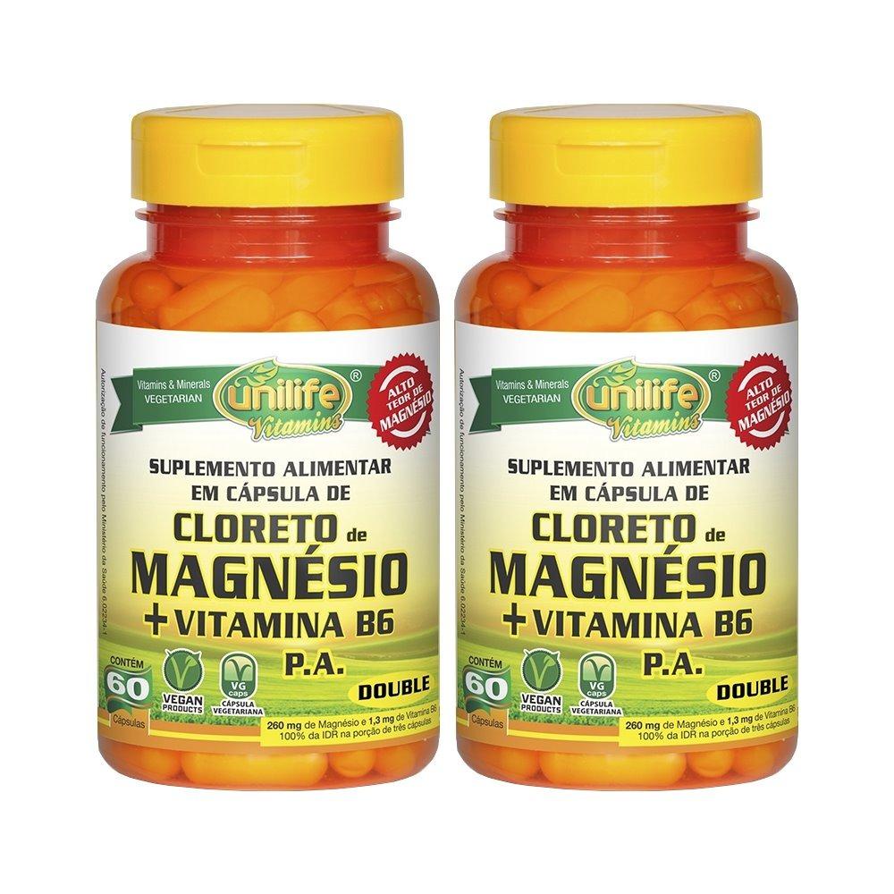 Cloreto De Magnésio P.A. + Vitamina B6 - 60 Cápsulas 800mg Unilife Kit 2 Unidades