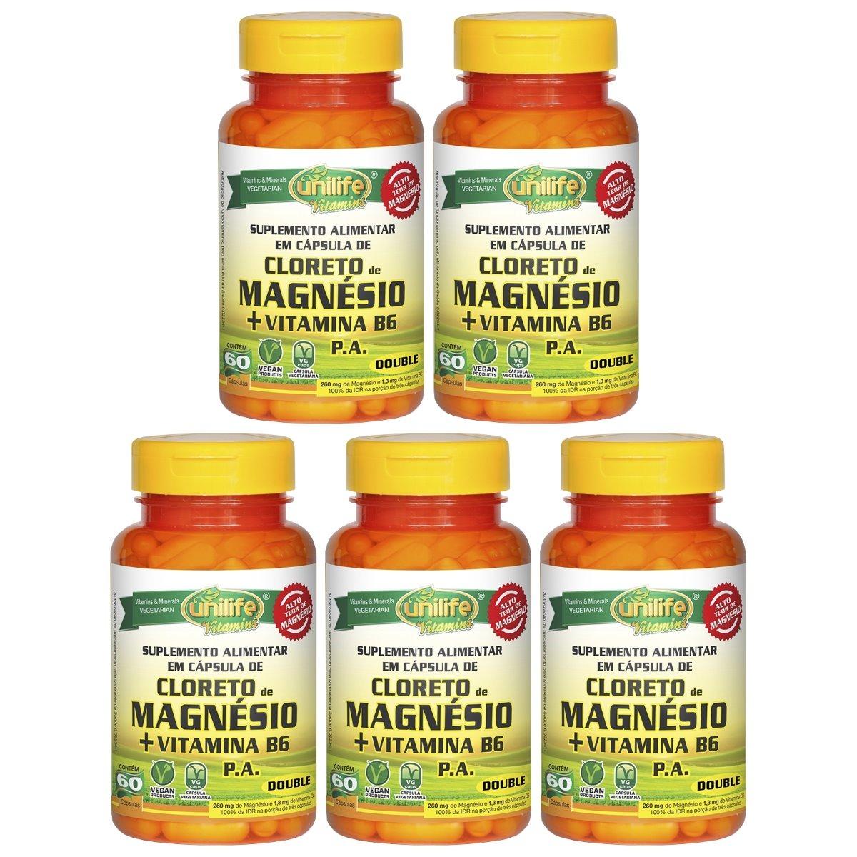 Cloreto De Magnésio P.A. + Vitamina B6 - 60 Cápsulas 800mg Unilife Kit 5 Unidades