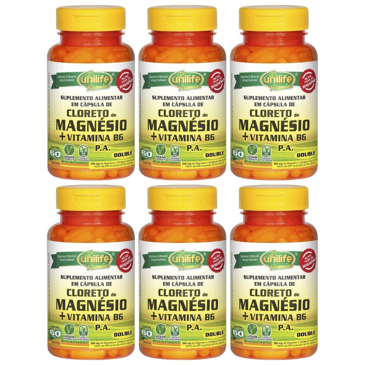 Cloreto De Magnésio P.A. + Vitamina B6 - 60 Cápsulas 800mg Unilife Kit 6 Unidades