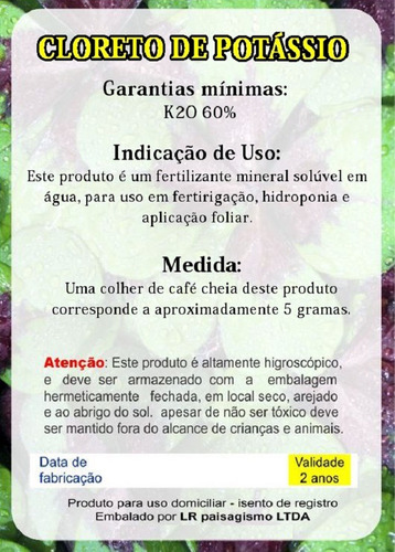 cloreto de potássio krista mop yara fertilizante solúvel 5kg