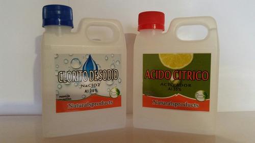 clorito de sodio al 28% + ácido cítrico al 35 % mms x 500 cc