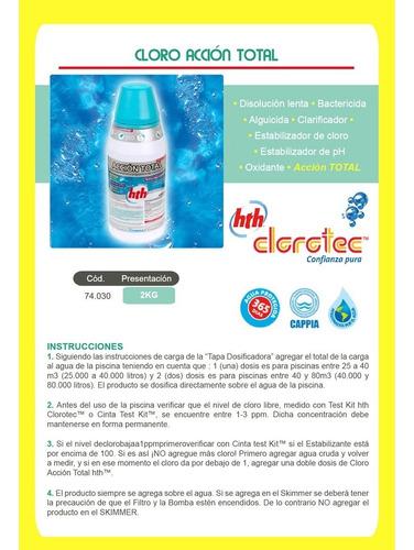 cloro accion total piscinas 2kg clorotec + regalo 2 flota fl