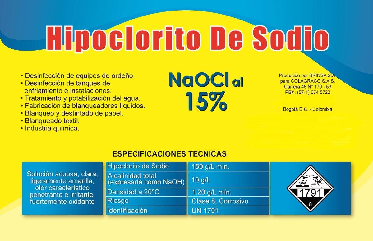 Cloro hipoclorito de sodio al 15 20 litros for Hipoclorito de sodio para piscinas