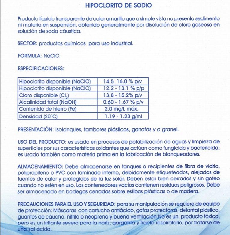 Cloro para piscina liquido 23 lts bs en for Precio litro cloro liquido