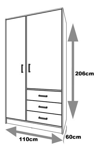 closet armario 2 puertas 3 gavetas 5 repisas