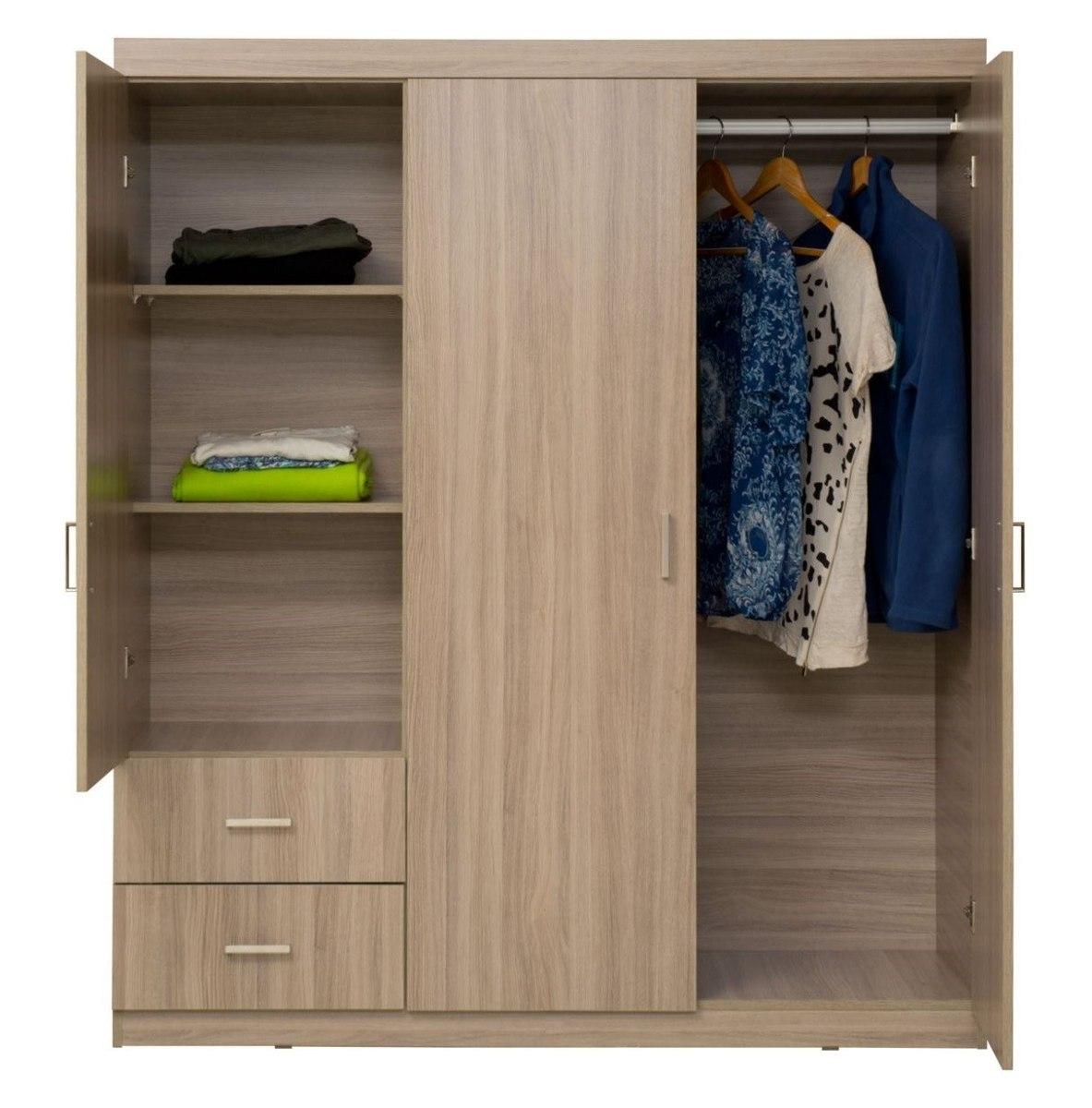 Closet armario moduart 3 puertas 2 cajones 160x140x46 - Armario 3 puertas ...