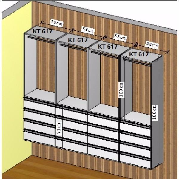 Closet Cabideiro E 4 Gavetas Kt617   Super Closets
