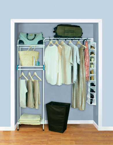 closet konekte blanco expandible 3 repisas metal y zapatera