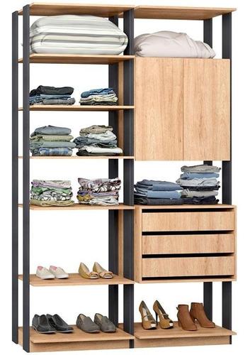closet modulado 1 armário c/ 3 gavetas clothes 9011  be mob