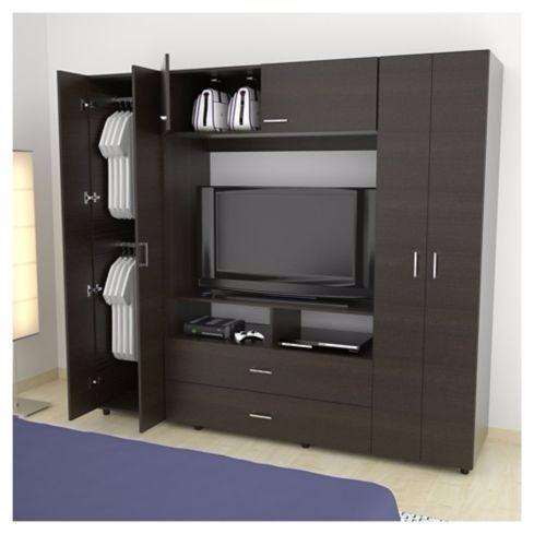 Closet rack tv tuhome 6p 2c manila z 200 en for Closet con espacio para tv