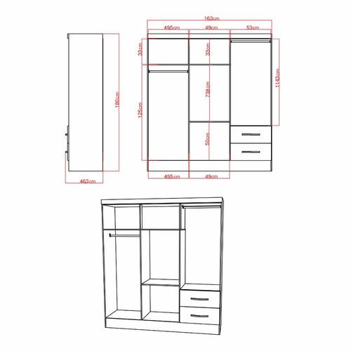 closet ropero sevilha 5 puertas - riviera, mueble, hogar
