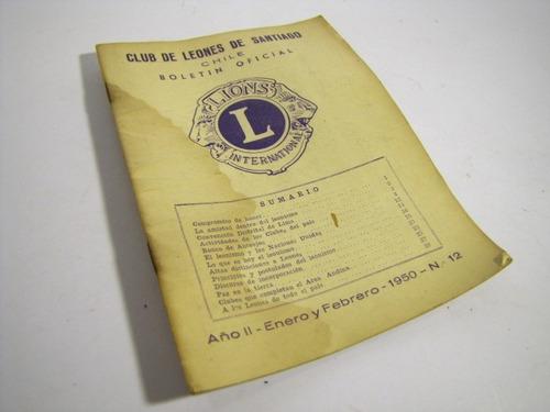 club de leones, boletin oficial, n 12, 1950.