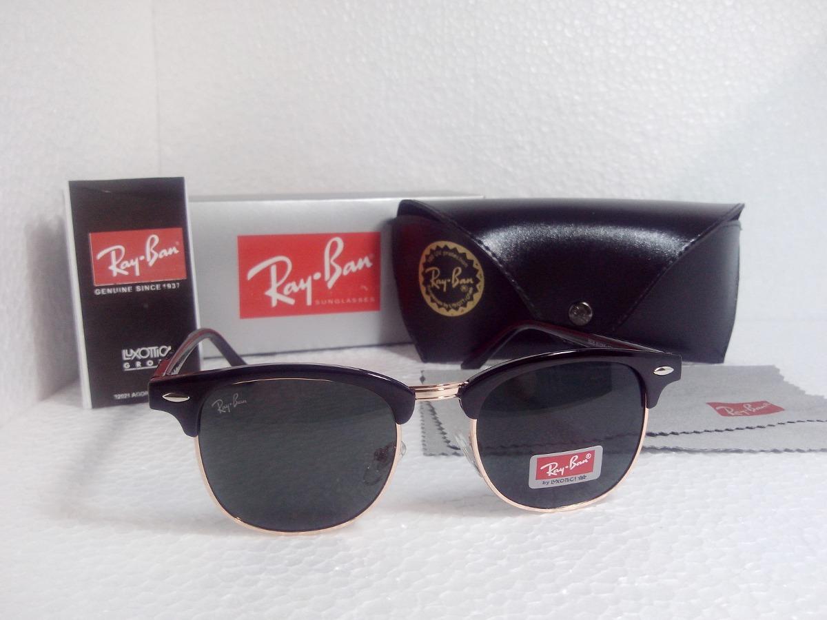 ray ban club  Rayban Clubmaster Ray Ban Rb 3016 Club Master Preto Dourado - R ...