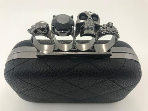 clutch cartera sobre de fiesta con strass y anillo