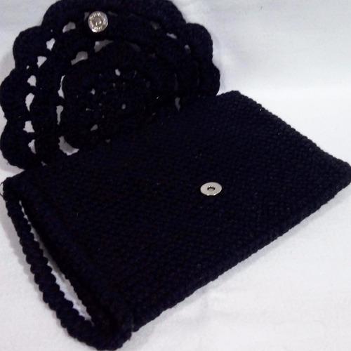 clutch de crochê preto