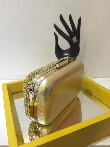 clutch strass dourado