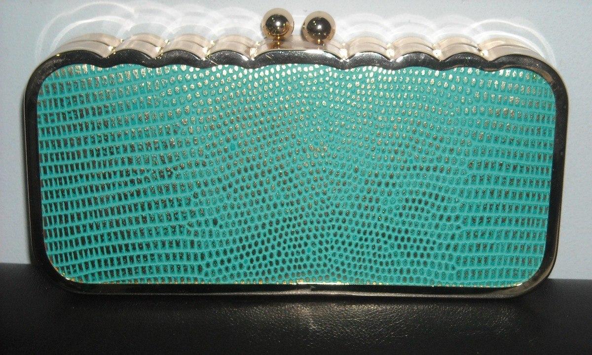 f2c79e526 clutch verde agua cartera sobre de fiesta herrajes dorados. Cargando zoom.