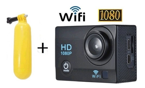 câmera ação1080p wifi p. d'água 30m + bastão boia flutuante