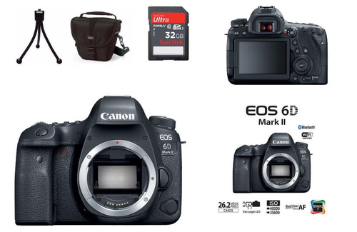 câmera canon eos 6d mark ii corpo+bolsa+tripé+32gb com nf-e