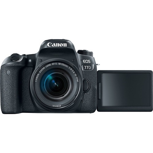 câmera canon eos 77d dslr c/ 18-55mm stm 24.2 mp 12x s/juros