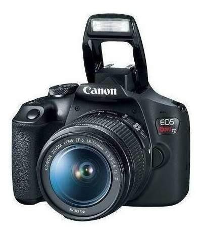 câmera canon eos rebel t7 c/ lente 18-55mm is ii + tripé