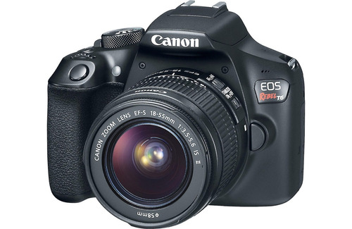 câmera canon eos t6+18-55+bolsa+tripé+32gb+filtro rev auto
