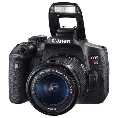 câmera canon eos t6i+18-55+bolsa+tripé+32gb+filtro rev autor