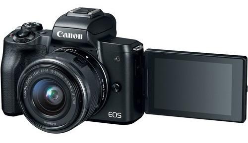 câmera canon mirrorless eos m50 + 15-45mm is stm novo