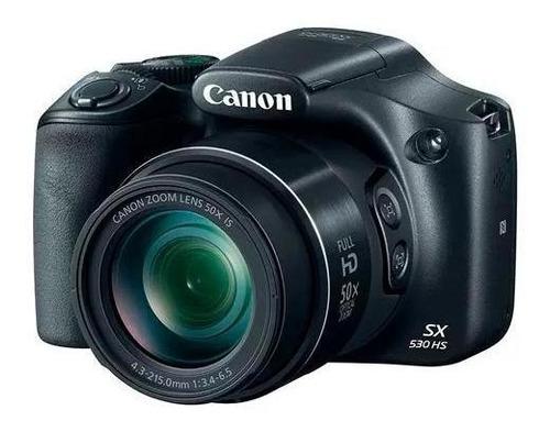 câmera canon powershot sx530 hs + sd 16gb + case + tripé