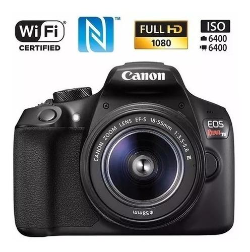câmera canon rebel t6 18-55mm+32gb+bolsa+ mini tripé