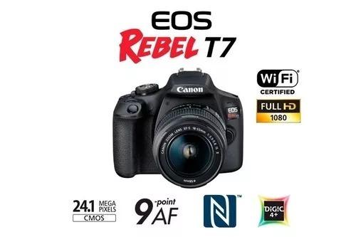 câmera canon rebel t7 lente 18-55mm c/ nf-e rev. autor canon