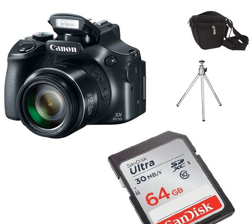 câmera canon sx60 hs sx60hs +64gb cl10 bolsa + tripe s/juros