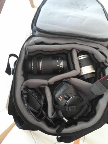 câmera cânon eos t3i + lente 28-90mm + lente 75-300mm + moch