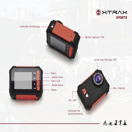 câmera de ação xtrax evo full hd wi-fi 12 mp + acessórios