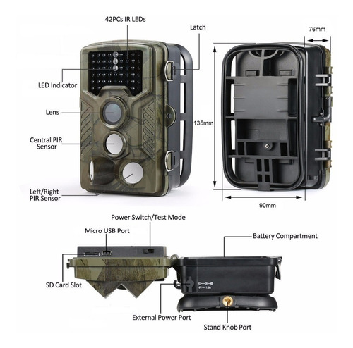câmera de trilha hc800a + carregador +8 pilhas recarregáveis