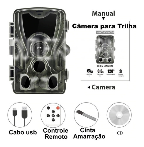 câmera de trilha suntek infravermelho hc 801 a  16mp 1080 p