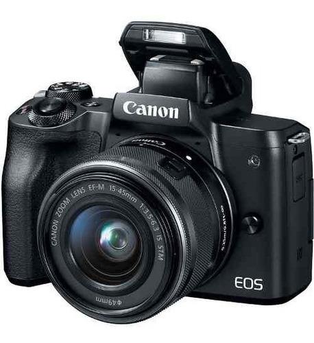 câmera digital canon eos m50 mirrorless lente 15-45mm